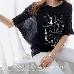 PEPER - Dolman-Sleeve Printed T-Shirt