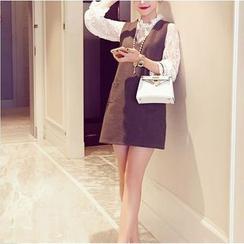 伊之戀 - 套裝: 長袖薄紗蕾絲上衣 + 背帶連衣裙