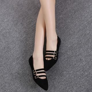 AM Chics - Buckled Strap Pointy Flats