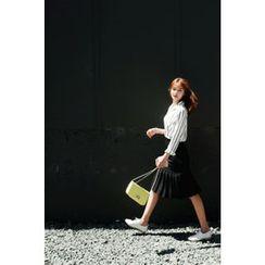 CHERRYKOKO - Dip-Back Striped Chiffon Shirt