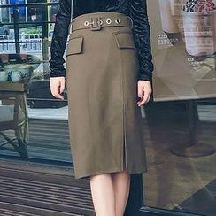 LRZ - Side Slit Midi Skirt