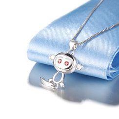 Zundiao - Sterling Silver Rhinestone Monkey Pendant