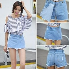 Fashion Street - Asymmetrical Denim Skirt