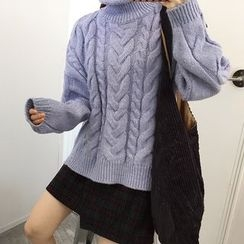 Chililala - Turtleneck Cable Knit Sweater