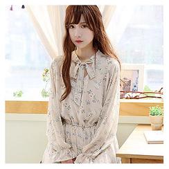 Sechuna - Tie-Neck Floral Pattern Long Dress