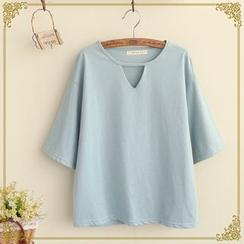 布衣天使 - 純色鏤空短袖T恤