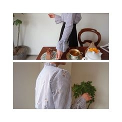 LEELIN - Drawstring-Sleeve Mandarin-Collar Blouse