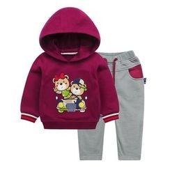 Ansel's - 童装套装: 贴布绣连帽衫 + 运动裤
