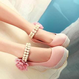 JY Shoes - Corsage Beaded Platform Wedges