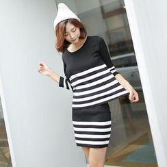 Envy Look - Set: Stripe Knit Top + Stripe Knit Skirt