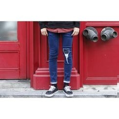 SCOU - Distressed Slim-Fit Jeans