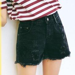 MOJIN - Distressed Denim Shorts