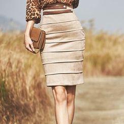 Aurora - Faux-Suede Pencil Skirt
