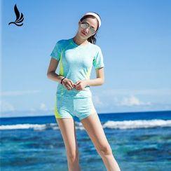 SANQI - Panel Short-Sleeve 2-piece Swimsuit