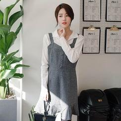 mimi&didi - Ruffle-Hem Buttoned Suspender Dress