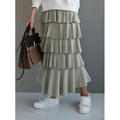 STYLEBYYAM - Band-Waist Layered Cotton Maxi Skirt