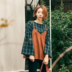 Seoul Fashion - Spaghetti-Strap Ruffle-Hem Top