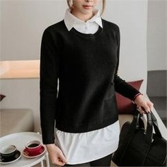 JOAMOM - Inset Shirt Knit Top