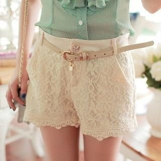 JK2 - Floral Lace Shorts with Belt
