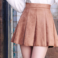 chuu - Paneled Faux-Suede A-Line Mini Skirt