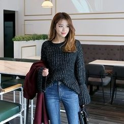 DABAGIRL - Wide-Cuff Mélange Rib-Knit Sweater
