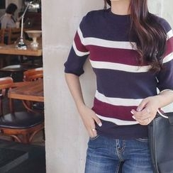 mimi&didi - Mock-Neck Striped Knit Top