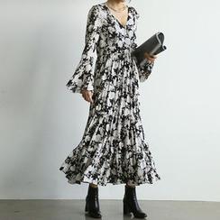 NANING9 - A-Line Floral Print Maxi Dress