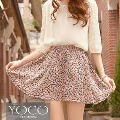 Tokyo Fashion - Elastic-Waist Floral A-Line Skirt