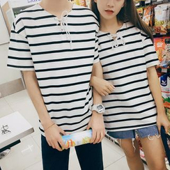 Simpair - Striped Couple Matching Lace-Up T-Shirt