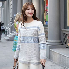 CLICK - Wool Blend Patterned Sweater