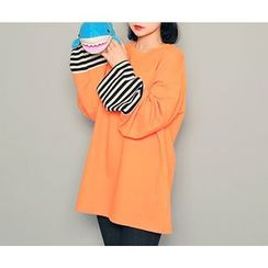 HOTPING - Stripe-Trim Cotton Pullover