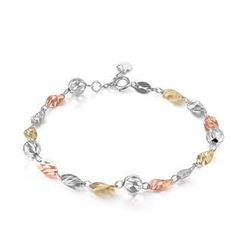 MaBelle - 14K/585 Tri-Color Gold Wavy Plates and Balls Bracelet