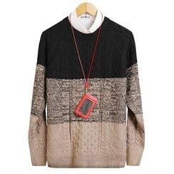 Seoul Homme - Round-Neck Color-Block Knit Top