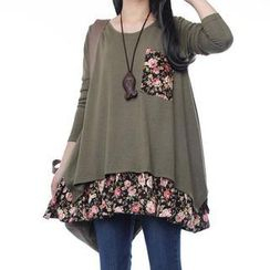 Ringnor - Long-Sleeve Floral Panel Top