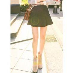 J-ANN - Inset Shorts Zip-Side Mini Skirt
