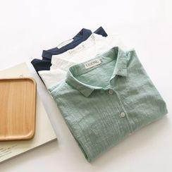 布丁坊 - 麻布純色襯衫