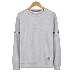 Seoul Homme - Stripe-Trim Sleeve T-Shirt