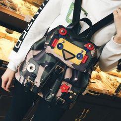 Devant - Camouflage Applique Drawstring Backpack