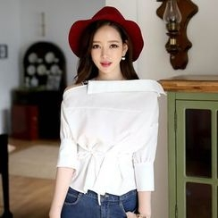Champi - Plain Off Shoulder 3/4 Sleeve Top