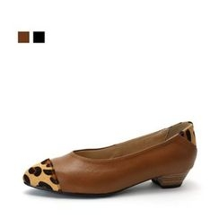 MODELSIS - Genuine Leather Leopard-Trim Pumps