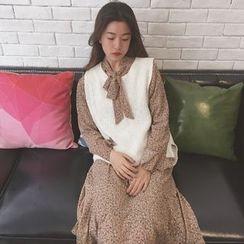 Eva Fashion - 碎花领结带雪纺连衣裙