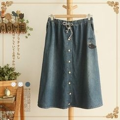 Angel Love - Buttoned Elastic-waist Denim Skirt