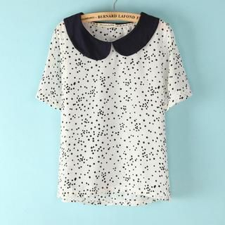 Flower Idea - Peter Pan-Collar Star-Print Blouse