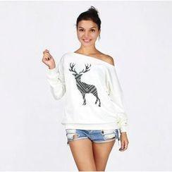 HOTCAKE - One-shoulder Reindeer Sweatshirt