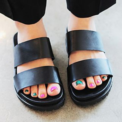 SouthBay Shoes - Metallic Slide Sandals