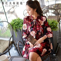 Dabuwawa - Long-Sleeve Bow-Accent Printed Blouse