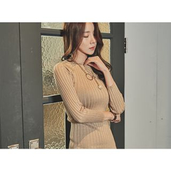 UUZONE - Crew-Neck Mini Knit Bodycon Dress