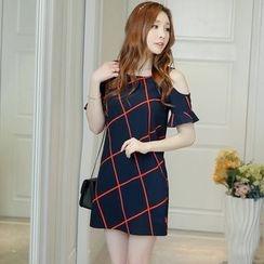 Nyssa - Check Cold Shoulder Chiffon Dress