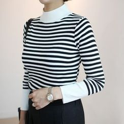 STYLEBYYAM - Stripe Mock-Neck Knit Top