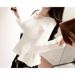 Marlangrouge - Cable-Knit Peplum Sweater